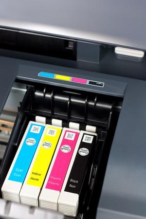 Closeup  of  printer ink cartridges for a color printer photo