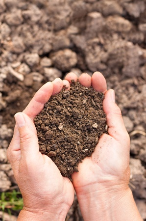 Female hands full of soil over soil background.Representing fertility Stock Photo