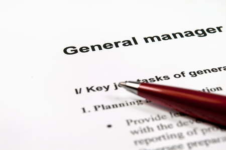 definition define: Close up image of general manager job description