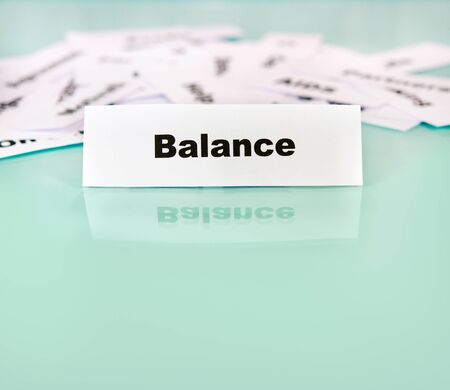 Piece of paper with balance word,sign or text on it Stock Photo - 11124751