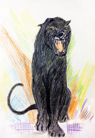 Child painting of a black puma or panther roaring photo