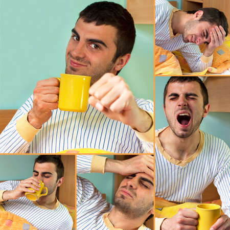 Waking up theme.Young handsome man yawning and having morning coffee in bed photo