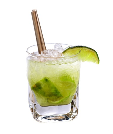 Caipirinha cocktail drink isolated on white background photo