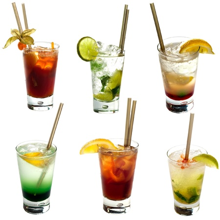 Set of different alcoholic cocktails isolated on white background photo