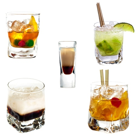 Set of different alcoholic cocktails isolated on white background Stock Photo - 12347461