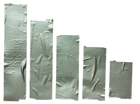 Collection of different duct tape  strips .Adhesive tape isolated on white background photo