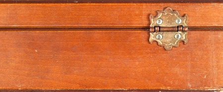 Close up of back of a vintage or retro wooden box showing hinge Stock Photo - 12679204