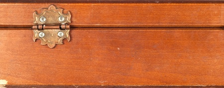 Close up of back of a vintage or retro wooden box showing hinge Can be used as a background photo