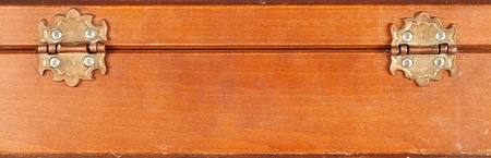Close up of back of a vintage or retro wooden box showing hinge Can be used as a background Stock Photo - 12679207