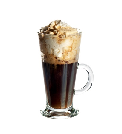 irish background: Irish coffee cocktail isolated on white background  Stock Photo