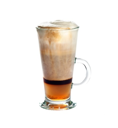 capuccino: Cappuccino Capuchino with coffee,almond-flavoured  Italian liqueur Amaretto  and cinnamon isolated on white background