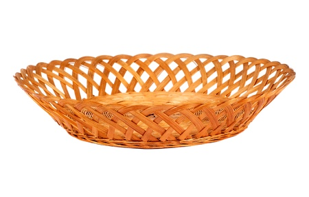 hand baskets: Empty wooden  fruit or bread basket  isolated on white background Stock Photo