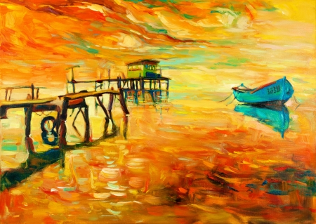 paint: Original oil painting of boat and jetty(pier) on canvas.Sunset over ocean.Modern Impressionism