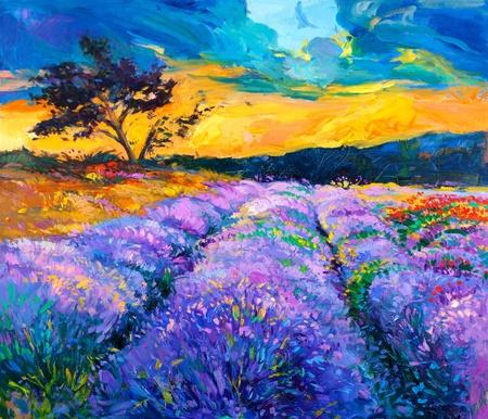 and painting: Pintura al �leo original de los campos de lavanda en canvas.Modern Impresionismo Foto de archivo
