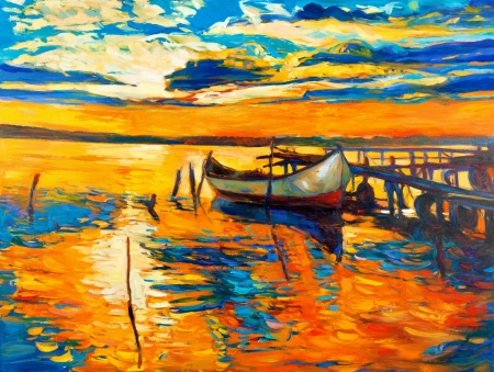 scenic's: Original oil painting of boat and jetty(pier) on canvas.Sunset over ocean.Modern Impressionism