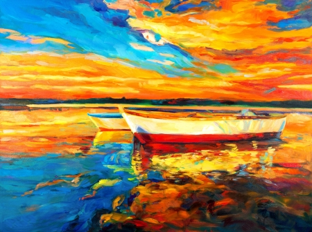 art abstract: Pintura al �leo original del barco y el mar en canvas.Sunset sobre ocean.Modern Impresionismo Foto de archivo