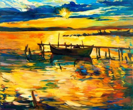 abstract painting: Original oil painting of boat and jetty(pier) on canvas.Sunset over ocean.Modern Impressionism