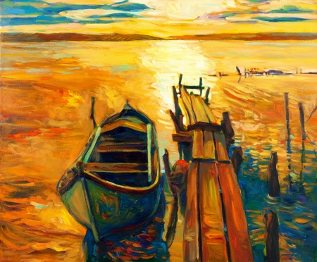 artwork backdrop: Original oil painting of boat and jetty(pier) on canvas.Sunset over ocean.Modern Impressionism
