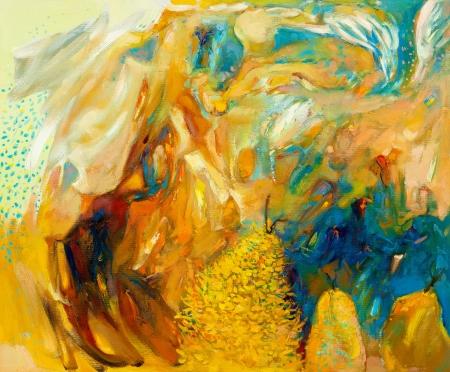 arte moderno: Pintura al óleo abstracta original en el impresionismo canvas.Modern
