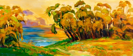Original oil painting of trees and lake on canvas.Modern impressionism Stock Photo - 15199589