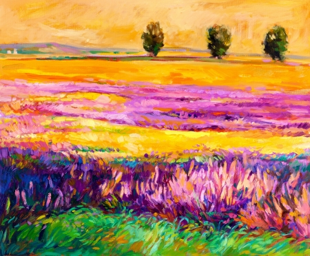 Original oil painting of lavender fields on canvas.Modern Impressionism photo