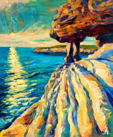 Original oil painting of ocean(sea) and cliffs on canvas.Modern Impressionism