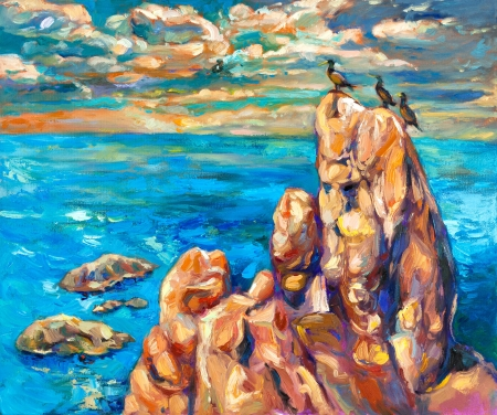 impressionism: Original oil painting of ocean(sea) cliffs and birds on canvas.Modern Impressionism Stock Photo