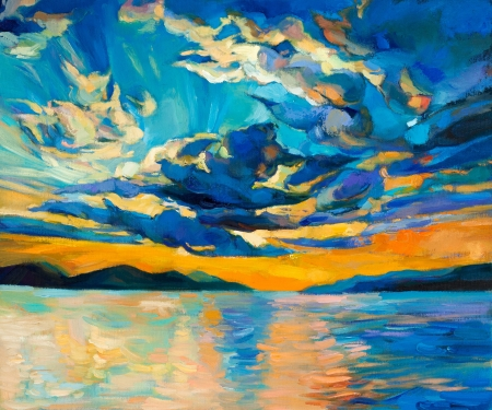 Original oil painting of beautiful sunset over ocean(sea)  on canvas.Modern Impressionism Stock Photo