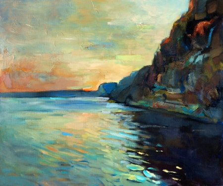 Original oil painting of beautiful sunset over ocean(sea) and cliffs on canvas.Modern Impressionism photo