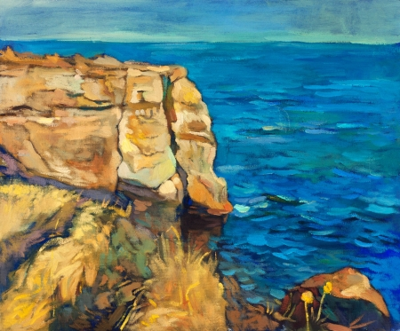 Original oil painting of  ocean(sea) and cliffs on canvas.Modern Impressionism photo