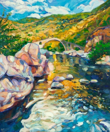 Original oil painting of  stone bridge and river in the mountains on canvas.Modern Impressionism