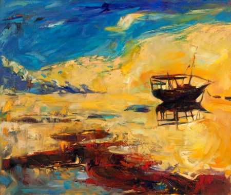 Original oil painting of boat and jetty(pier) on canvas.Sunset over ocean.Modern Impressionism