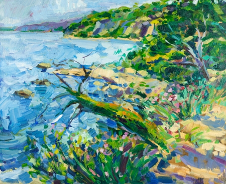 Original oil painting of Mountains and ocean(sea) on canvas.Modern Impressionism photo