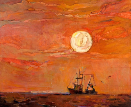 Original oil painting of beautiful sunset over ocean(sea)  and fishing boat(ship) on canvas.Modern Impressionism