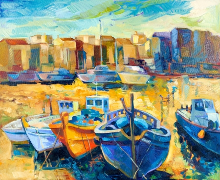 impressionism: Original oil painting of beautiful suset over the wharf full of boats on canvas.Modern Impressionism