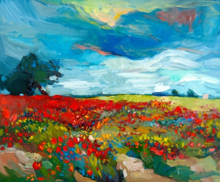 Original oil painting of  fields  of flowers on canvas.Country landscape.Modern Impressionism photo