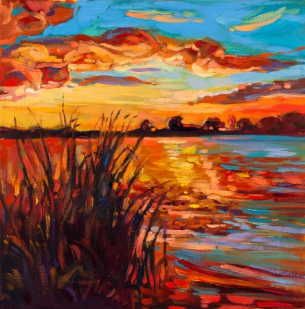 Original oil painting showing beautiful lake,sunset landscape.Fern(rush),sky and clouds. Modern Impressionism