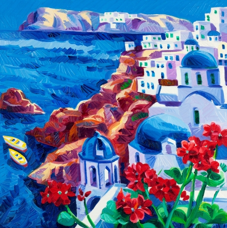 santorini: Original oil painting showing Blue churches and white houses of Oia village at Santorini island with sea view. Greece.Modern Impressionism Stock Photo