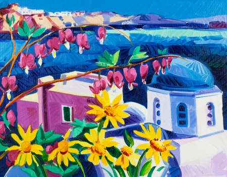 Original oil painting showing Blue churches and white houses of Oia village at Santorini island with sea view. Greece.Modern Impressionism photo