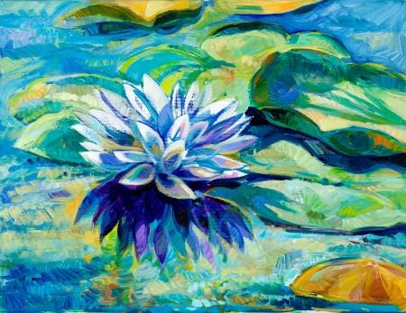 flor de loto: Pintura al óleo original de agua hermoso lirio (Nymphaeaceae) en canvas.Modern Impresionismo Foto de archivo