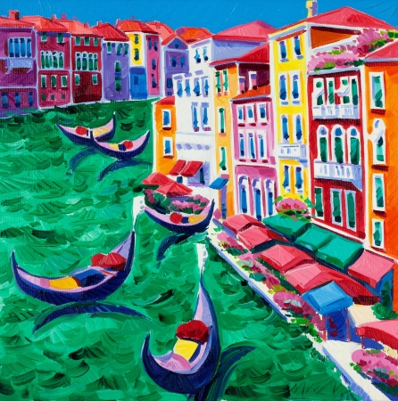 gondolier: Original oil painting of beautiful Venice, Italy  on canvas.Modern Impressionism