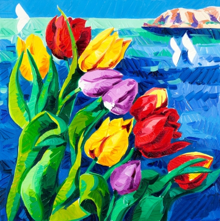 Original oil painting of beautiful Tulips(Tulipa) in front of ocean on canvas.Modern Impressionism Stock Photo