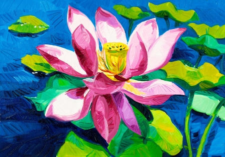 Original oil painting of beautiful water lily(Nymphaeaceae) on canvas.Modern Impressionism photo