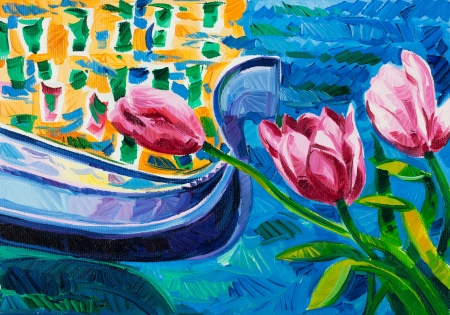 Original oil painting of beautiful Tulips(Tulipa) in front of ocean and gondola on canvas.Modern Impressionism photo