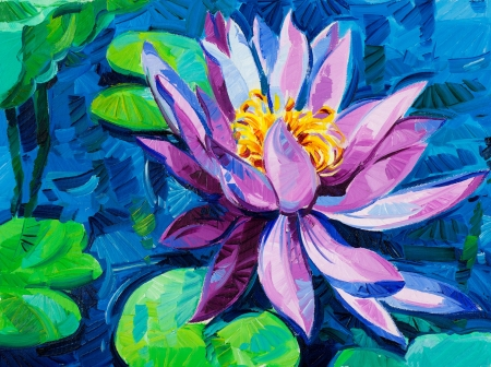 art: Original oil painting of beautiful water lily(Nymphaeaceae) on canvas.Modern Impressionism