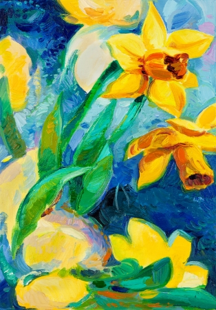 Original oil painting of beautiful  daffodil flowers in front of ocean  on canvas.Modern Impressionism