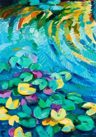 Pintura al óleo original de agua hermoso lirio (Nymphaeaceae) en canvas.Modern Impresionismo Foto de archivo