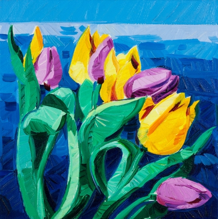 Original oil painting of beautiful Tulips(Tulipa) in front of ocean on canvas.Modern Impressionism photo