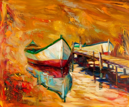 canvas painting: Original oil painting of boats and jetty(pier) on canvas.Sunset over ocean.Modern Impressionism Stock Photo