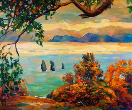 Pintura al óleo original mostrando hermoso lago, puesta del sol landscape.Forest y el cielo. Modern Impressionism Foto de archivo